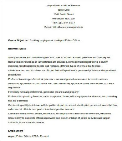6+ Police Officer Resume Templates - PDF, DOC Free  Premium Templates