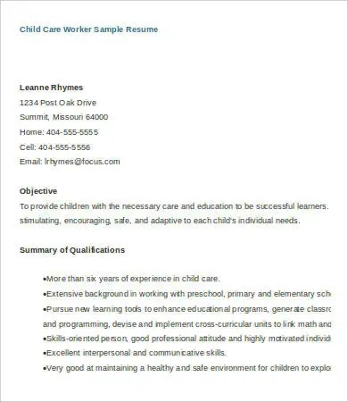 8+ Child Care Resume Templates - PDF, DOC Free  Premium Templates - child care sample resume