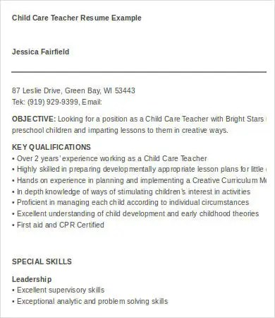 Daycare Worker Resume Daycare Resume Examples Resume Sample Child - resume for daycare teacher