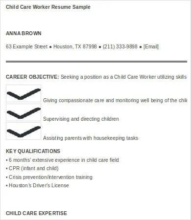 8+ Child Care Resume Templates - PDF, DOC Free  Premium Templates - child care resume