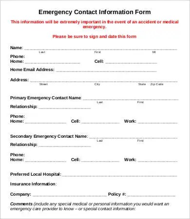 11+ Emergency Contact Forms - PDF, DOC Free  Premium Templates - emergency contact form