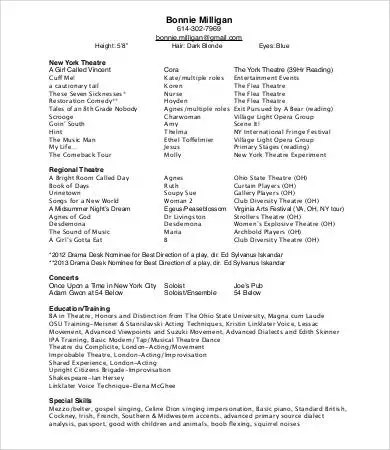 how to make a theatre resumes