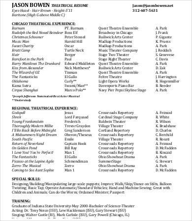 Theatre Resume Theatre Resume Examples Theatre Resume Examples City