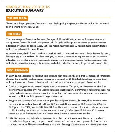 9+ Best Executive Summary Templates  Samples - PDF Free  Premium