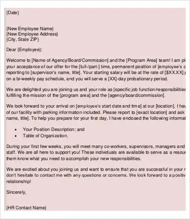 Welcome Letter Template New Hire Packet Employee Free u2013
