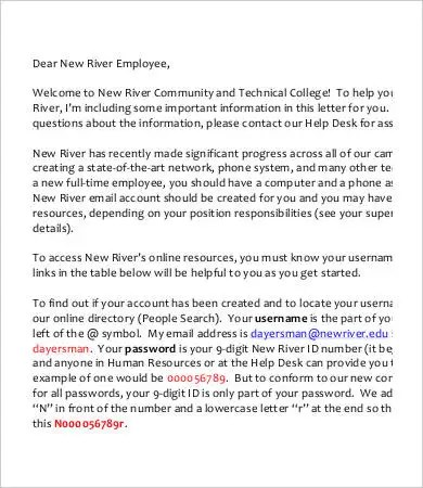 New Employee Welcome Letter Free  Premium Templates