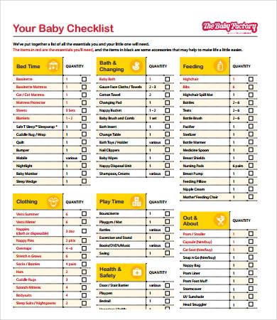 New Baby Checklist - 8+ Free PDF Documents Download Free - newborn checklist