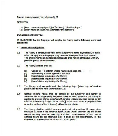 Nanny Contract - 7+ Free PDF, Word Documents Download Free - housekeeper contract templates