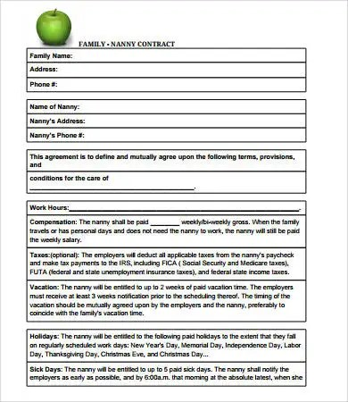 Nanny Contract - 7+ Free PDF, Word Documents Download Free