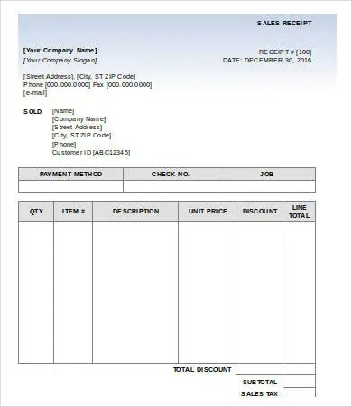 Sales Receipt Template - 9+ Free PDF, Word Documemts Download Free