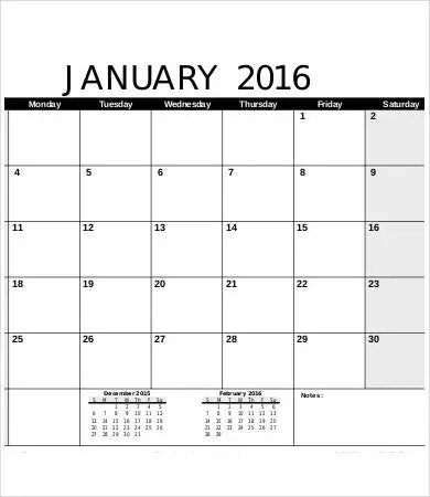 Free Printable Calendar Template - 9+ Free PDF Documents Download - printable blank calendar
