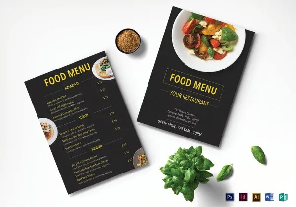 30+ Creative Restaurant Menu Designs Free  Premium Templates