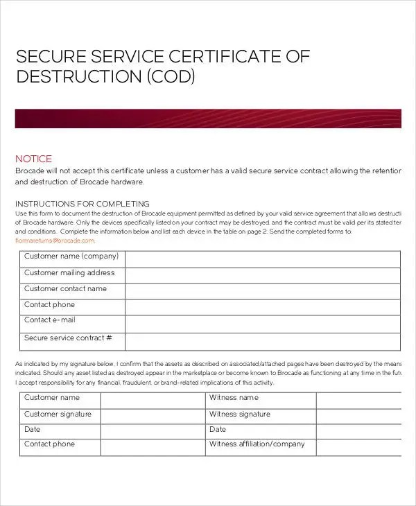 Certificate Of Destruction Templates - 10+ Free PDF Format Download - Certification Document Template