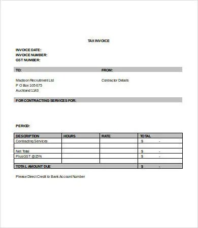 Service Invoice Template Word - 7+ Free Word Documents Download