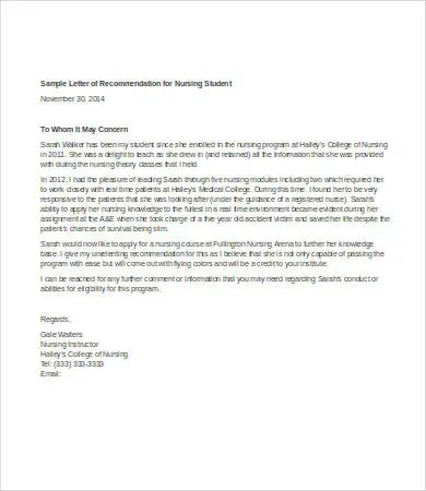 Letter Of Recommendation For Student - 6+ Free Sample, Example - nursing recommendation letter sample