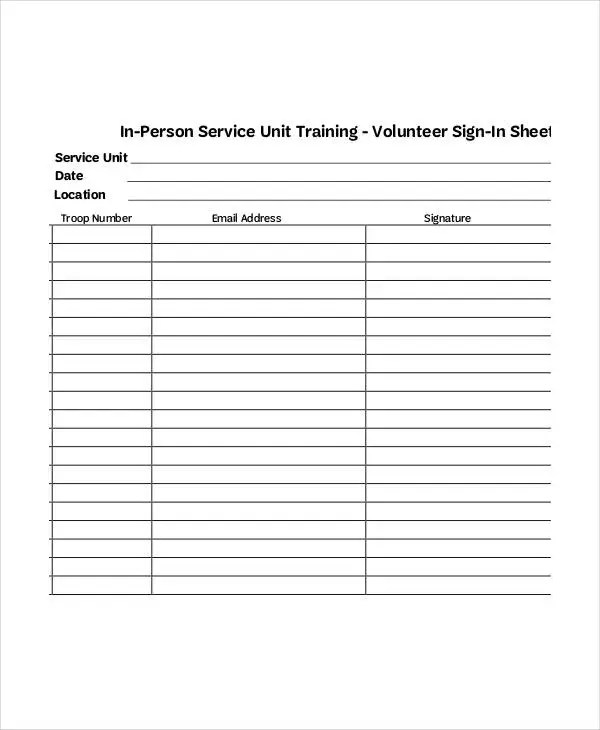 Volunteer Sign-In Sheet Templates - 10+ Free PDF Documents - meeting sign in sheet templates