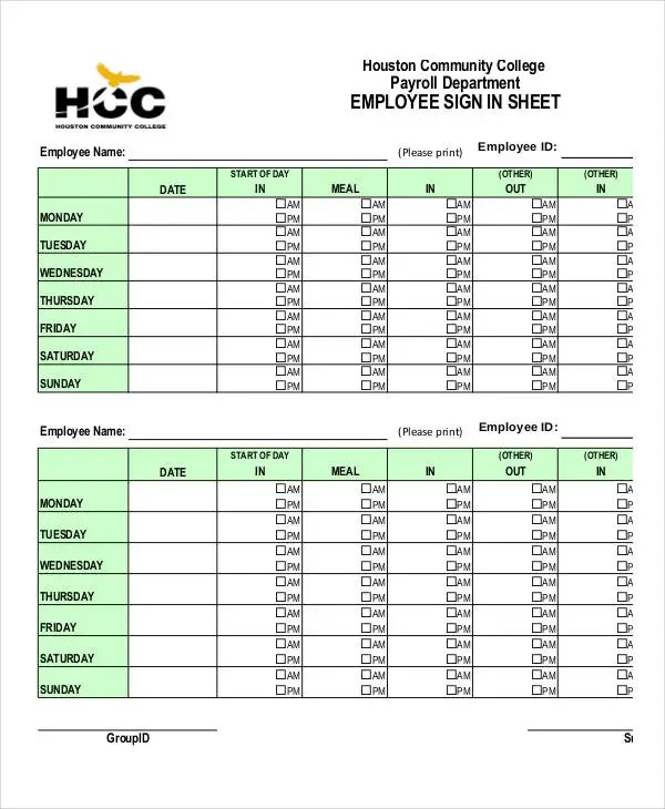 Employee Sign-In Sheets - 8+ Free Word, PDF, Excel Documents