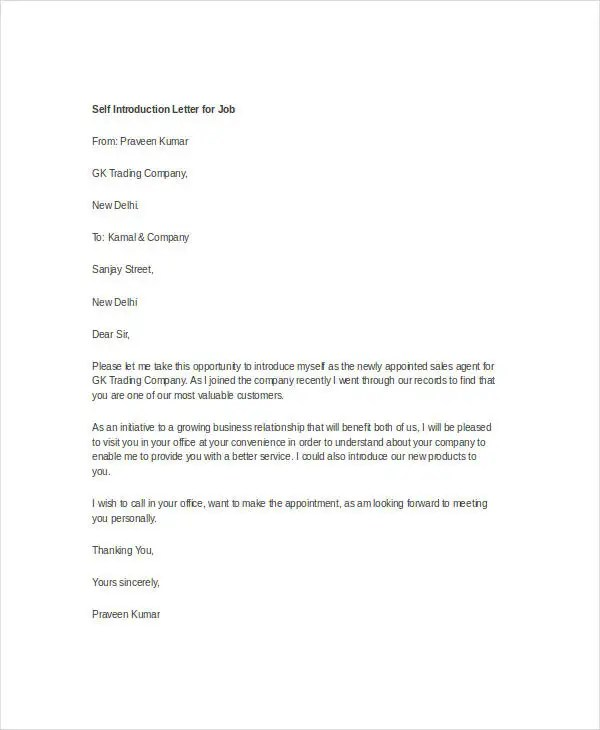 Business Introduction Letter Sample Doc | Biodata Format Notepad