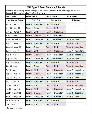 rotating schedule template - shefftunes