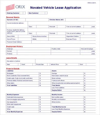 9+ Lease Application Templates - Free Sample, Example, Format Free