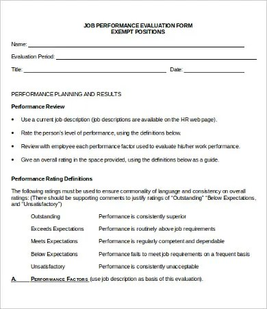 Performance Evaluation Form - 10+ Free Word, PDF Documents Download