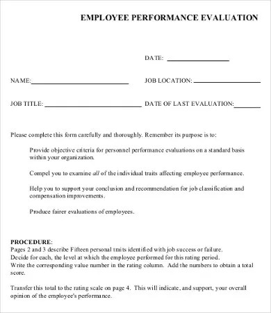 Performance Evaluation Form - 10+ Free Word, PDF Documents - job performance evaluation form templates