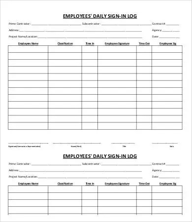 Employee Sign-In Sheet Template - 5+ Free PDF Documents Download - sign in sheet
