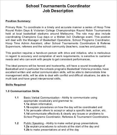 10+ Coordinator Job Description Templates - PDF, DOC Free