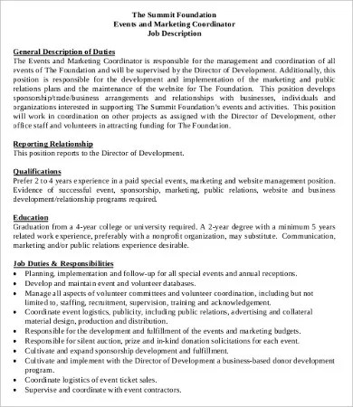 10+ Coordinator Job Description Templates - PDF, DOC Free - Event Coordinator Job Description