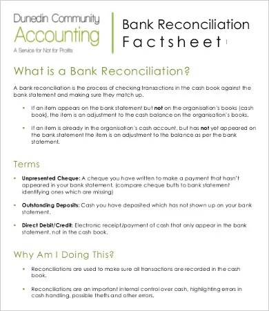 Bank Reconciliation Template - 11+ Free Excel, PDF Documents