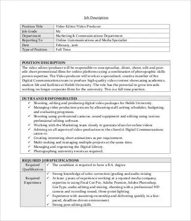 9+ Editor Job Descriptions - PDF, DOC Free  Premium Templates