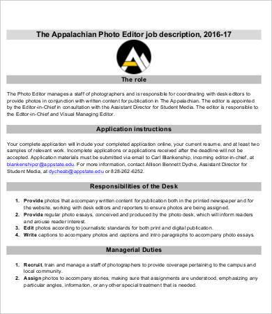 9+ Editor Job Descriptions - PDF, DOC Free  Premium Templates