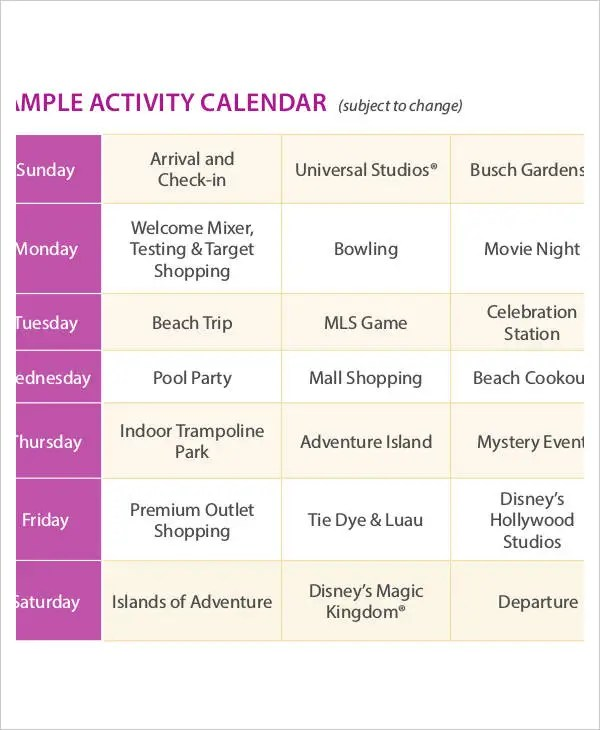 Activity Calendar Templates - 9+ Free PDF Format Download Free