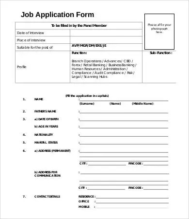 Job Application Form Template - 8+ Free PDF Documents Download