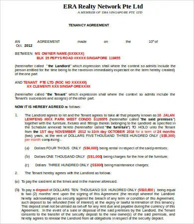 Tenancy Agreement Template - 16+ Free Word, PDF Documents Download