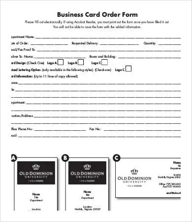 Business Forms Templates Envresumecloud - Business card order form template