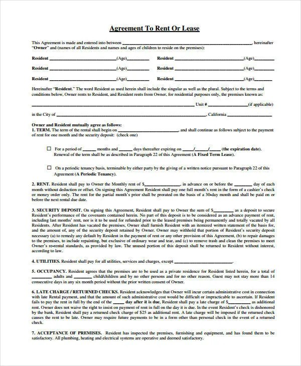 Rent Agreement Form - 9+ Free Word, PDF Documents Download Free - agreement form examples
