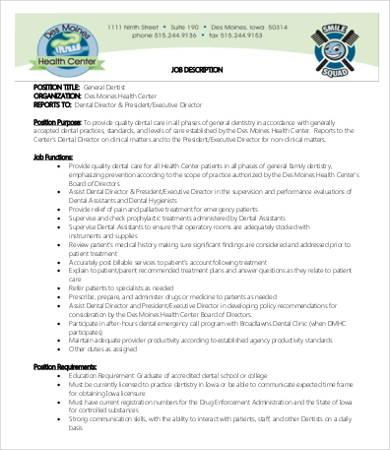 10+ Dentist Job Description Templates - PDF, DOC Free  Premium