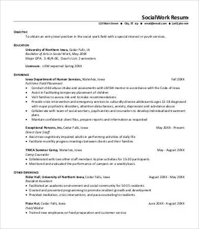Resume Examples Social Work - Examples of Resumes