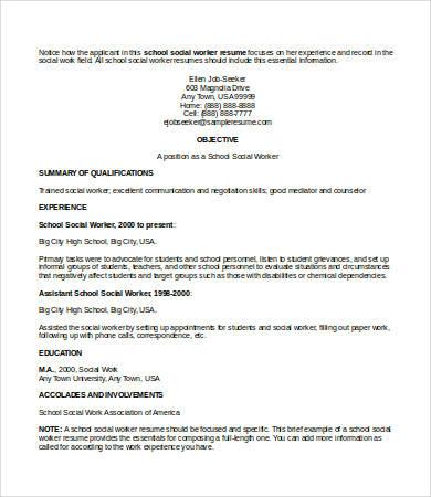 10+ Social Work Resume Templates - PDF, DOC Free  Premium Templates