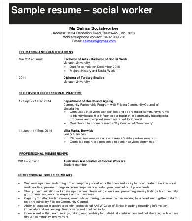 10+ Social Work Resume Templates - PDF, DOC Free  Premium Templates - social service resume template