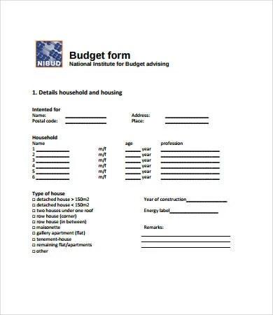 Budget Forms - 9+ Free PDF Documents Download Free \ Premium - budget form