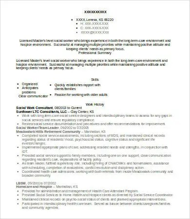 10+ Social Work Resume Templates - PDF, DOC Free  Premium Templates - social work consultant sample resume