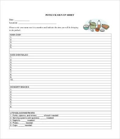 Potluck Signup Sheet - 12+ Free PDF, Word Documents Download Free
