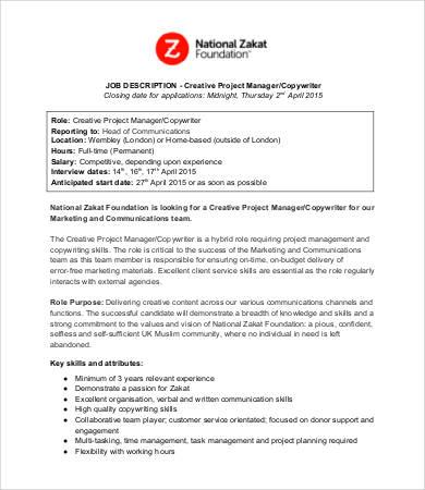 9+ Copywriter Job Descriptions in PDF Free  Premium Templates - copywriter job description