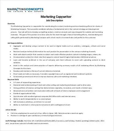 9+ Copywriter Job Descriptions in PDF Free  Premium Templates - copywriter job description
