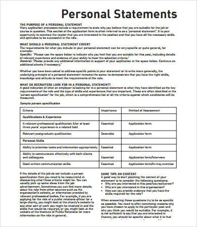 Personal Statement Format - 9+ Free PDF, Word Documemts Download - personal statements