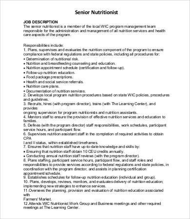9+ Sample Nutritionist Job Descriptions - PDF, DOC Free  Premium - nutritionist job description