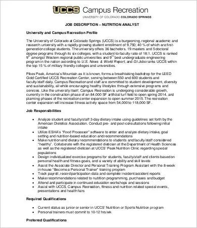 9+ Sample Nutritionist Job Descriptions - Free Sample, Example - research analyst job description