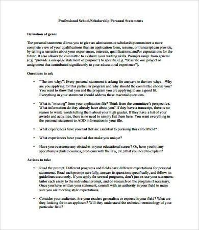 Personal Statement Format - 9+ Free PDF, Word Documemts Download - personal statement format